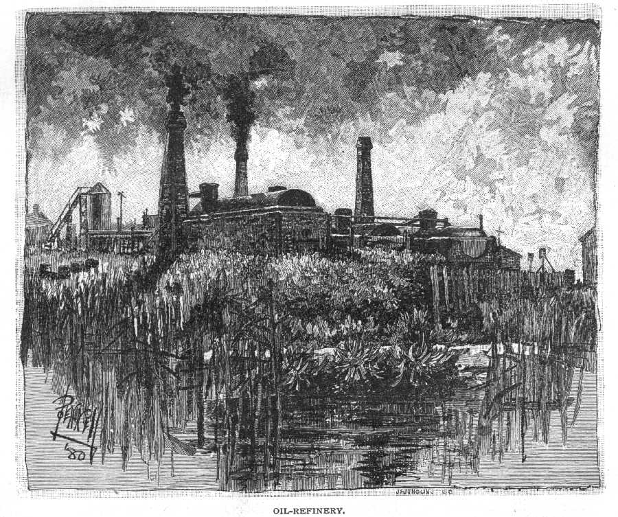 Joseph Pennel, 'Oil Refinery.' Scribner's Monthly. A drawing of a factory is on the banks of an overgrown river bank.