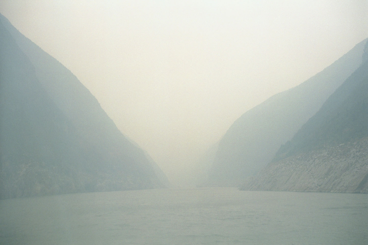 A view of the The Three Gorges a few days before the waters rise due to the inundation of the dam. Yangtze River, China. 2003.