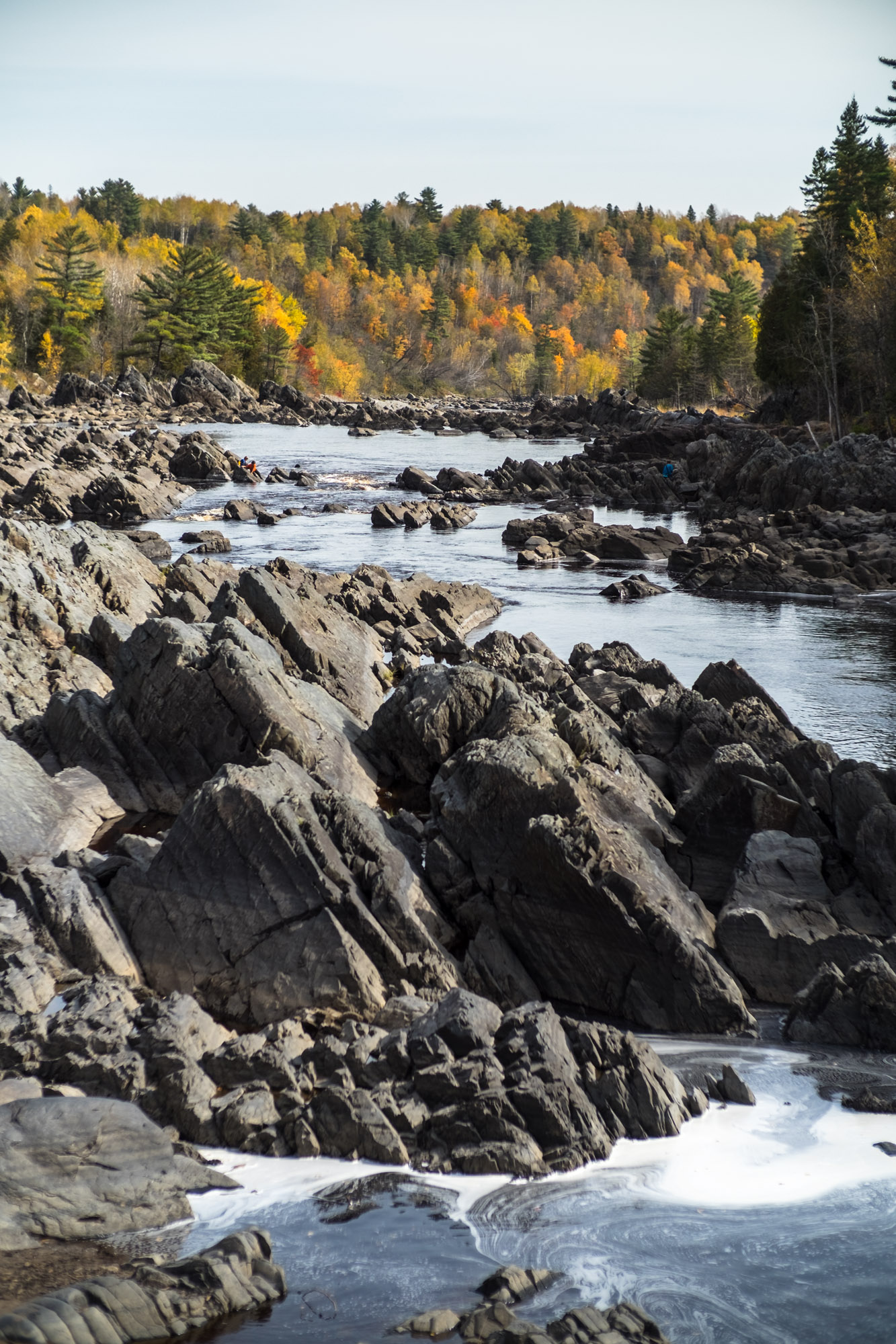 Slate and greywacke bedrock plates rise from the St. Louis River in Jay Cooke State Park. Image courtesy of Alex Messenger Photography.