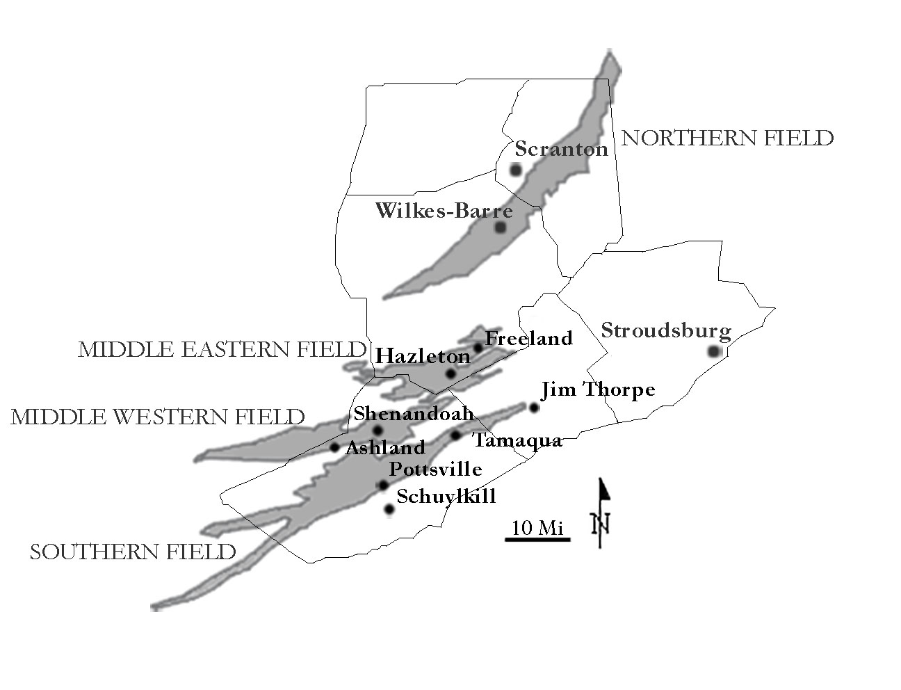 Map of Northeastern Pennsylvania showing the three anthracite fields and some of the cities and towns in the region. Image drawn by V. Camille Westmont, courtesy of the author.