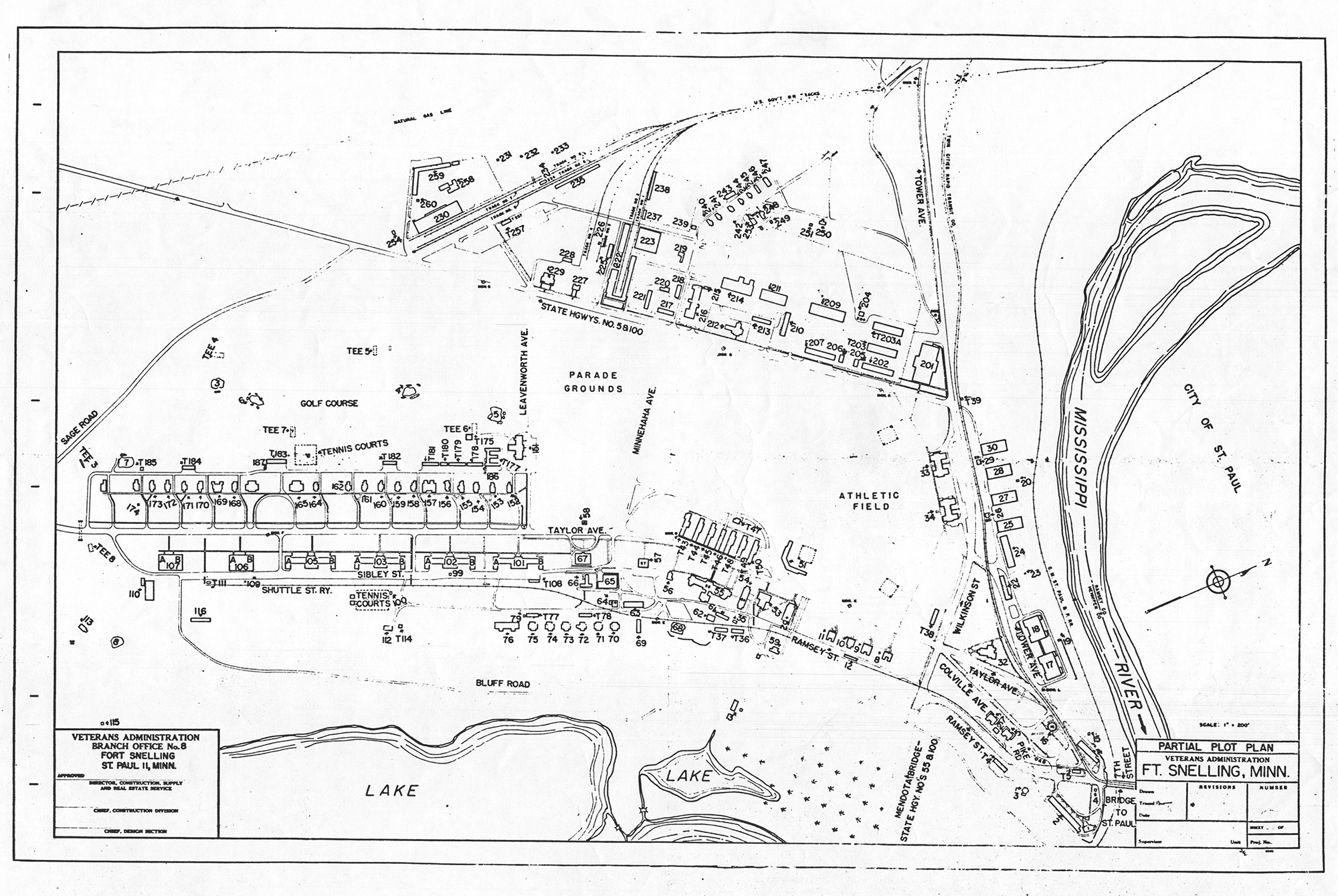 Plan view of Fort Snelling, Minnesota, 1950, showing Taylor Ave. (lower left quadrant) and other streets on the Upper Post. Source: Veterans Administration. Digital image courtesy of the Minnesota Historical Society.