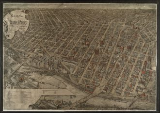1891 Illustrated Map. Map is a 'Bird's eye view' of Minneapolis, looking over the Mill District area. Image courtesy of Hennepin County Library.