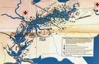 Artistic rendition of map of the Ohio-Mississippi valley flood disaster of 1937, showing 10 different American Red Cross locations from Washington, DC to Little Rock, Arkansas. Not to scale. Image courtesy of University of Southern Indiana Library.