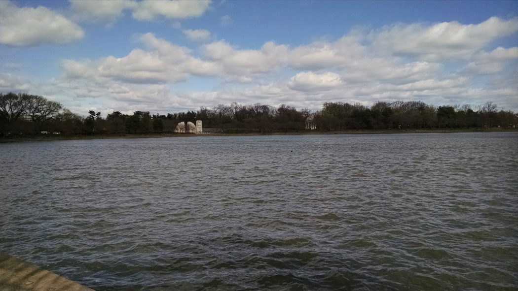 Figure 1: A widely recognized body of water (The Tidal Basin), without its most recognizable markers (Jefferson Memorial). Image by B.J. Little, March 2017.
