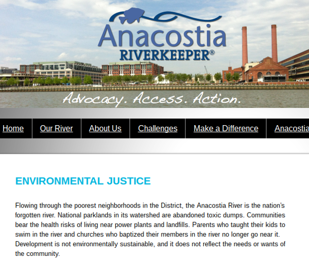 Figure 10: Anacostia Riverkeeper website.