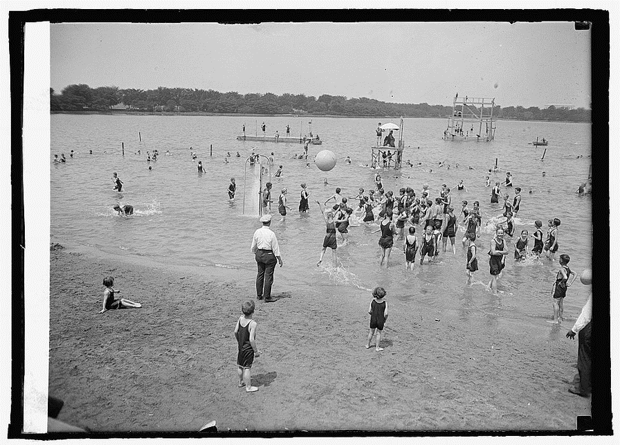 Figure 7: A game of push ball at the whites-only Tidal Basin beach, July 1924. National Photo Company Collection, Library of Congress.