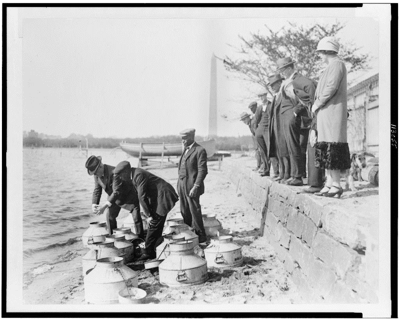 Figure 8: U.S. Commissioner of Fisheries Henry O'Malley stocking fish in the Tidal Basin, April, 1925.  National Photo Company Collection, Library of Congress.
