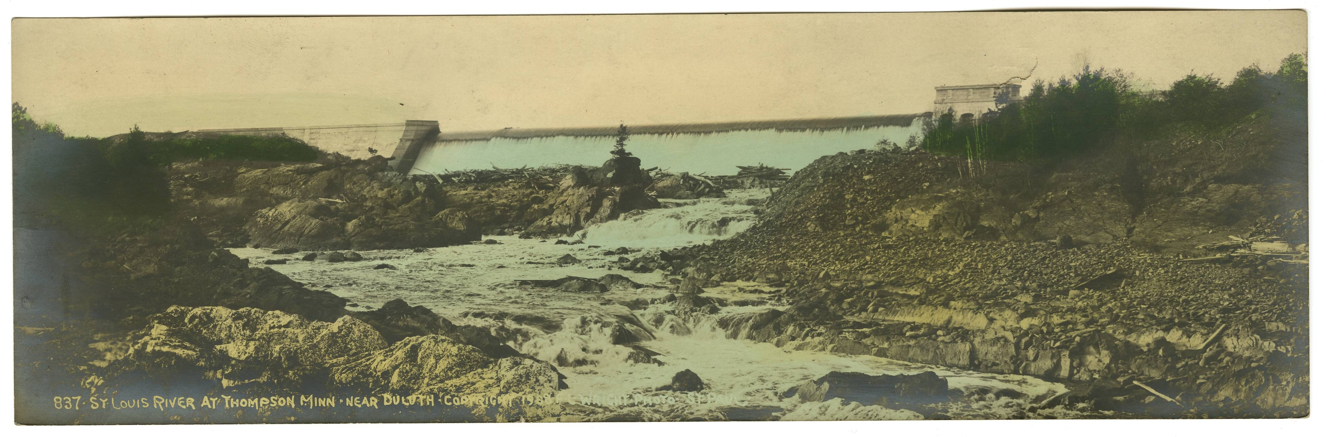 St. Louis River at Thompson, Minnesota, near Duluth, 1908. Digitally enhanced image courtesy of University of Minnesota Duluth, Kathryn A. Martin Library, Northeast Minnesota Historical Center Collections.