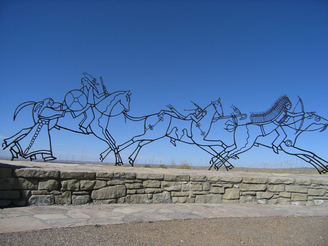 Iron sculpture by Native American artist Colleen Cutschall commemorates the Native Americans (Crow tribe) who died fighting for their homelands in the 1876 Battle of Little Bighorn. The monument is located at the Little Bighorn Battlefield National Monument.