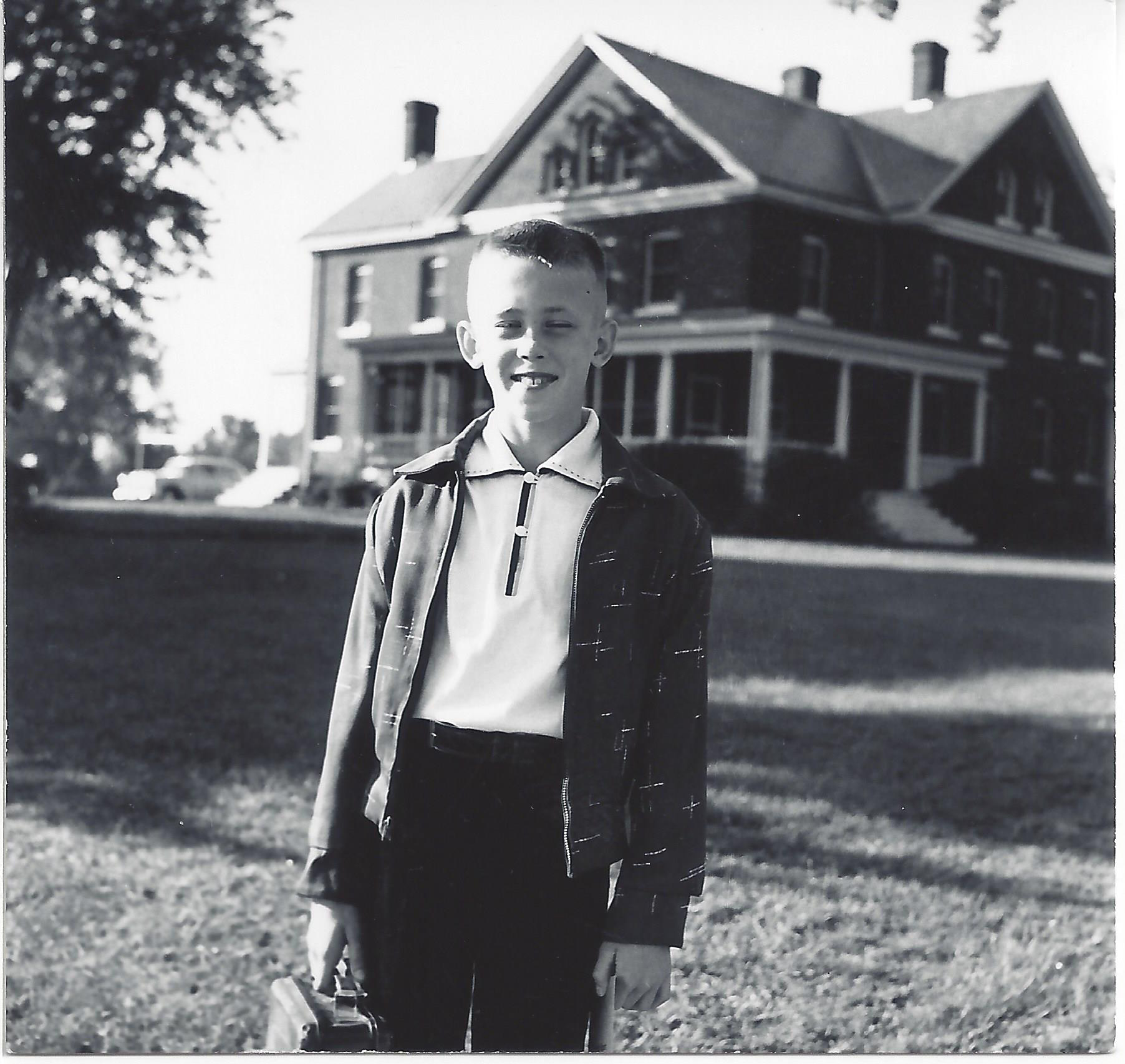 Steven Watson in front of 8 Taylor Avenue home in Fort Snelling, Minnesota, about 1952. Image by Richard E. Watson, M.D., courtesy of the author.