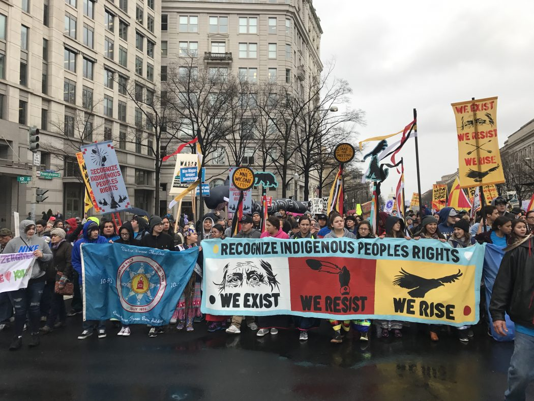 Activists at the Native Nations Rise protest rally against the Dakota Access and Keystone XL pipelines in Washington, D.C. via Indianz Com, Flickr. CC BY-NC-SA 2.0