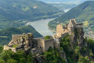 How can one convey, to students of history, humanity's intimate connections to streams, rivers, lakes, and seas? Castle ruins of Aggstein, Wachau, Lower Austria.