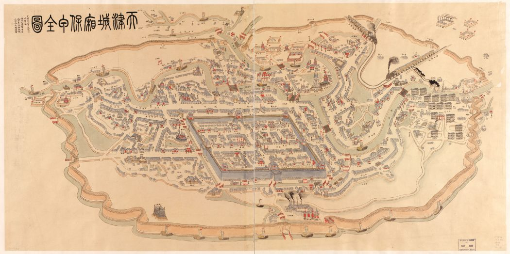 A map of Tianjin dated 1899. The Northern Grand Canal, Southern Grand Canal, Daqing River, Ziya River, and Yongding River merged into the Haihe in Tianjin. The walled city was to the southwest of the confluence.
