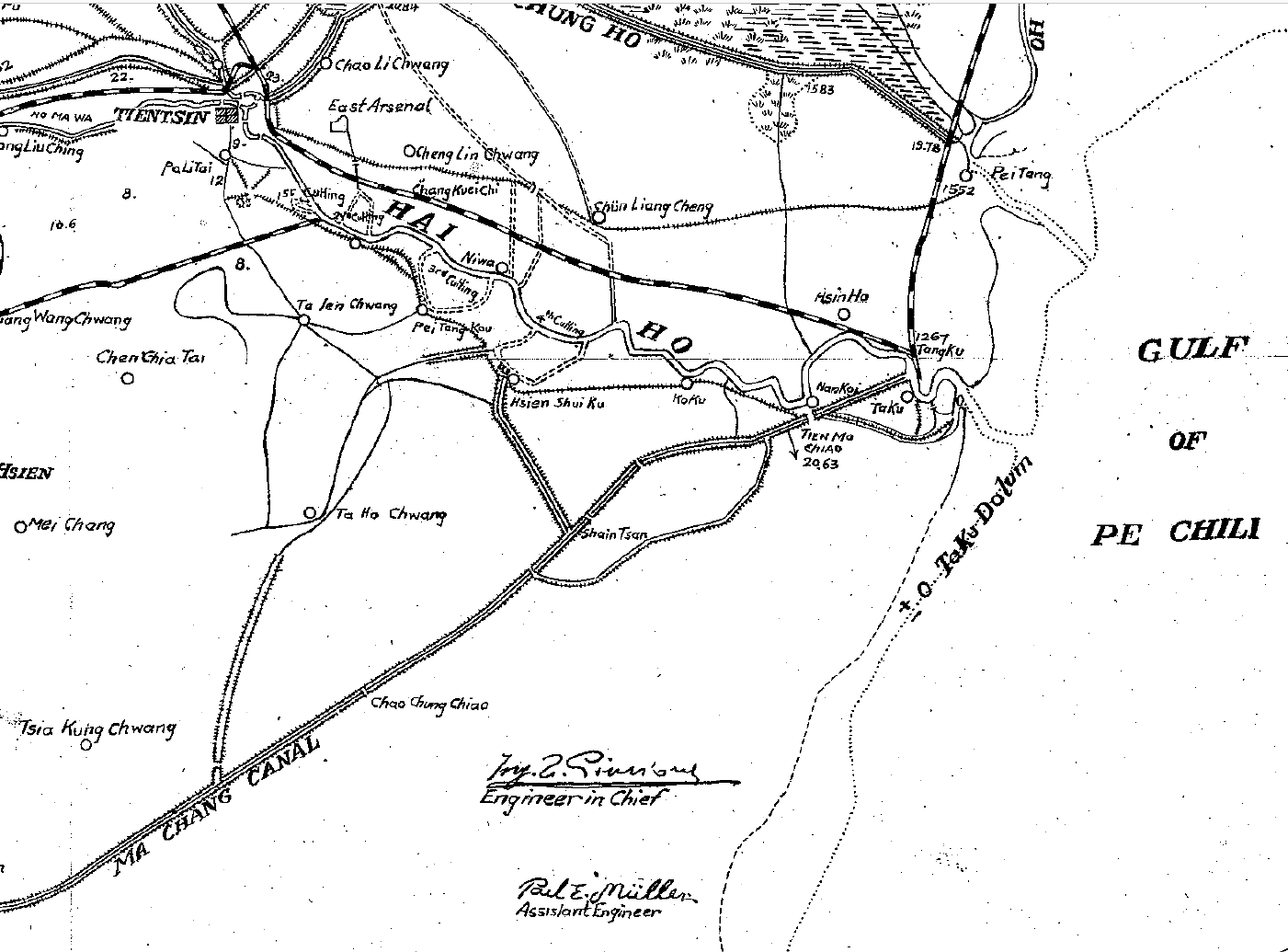 Figure 4: Partial image of map showing the location of Tanggu (spelled Tangku in the map) and the railway connecting Tanggu with Tianjin (spelled Tientsin in the map).