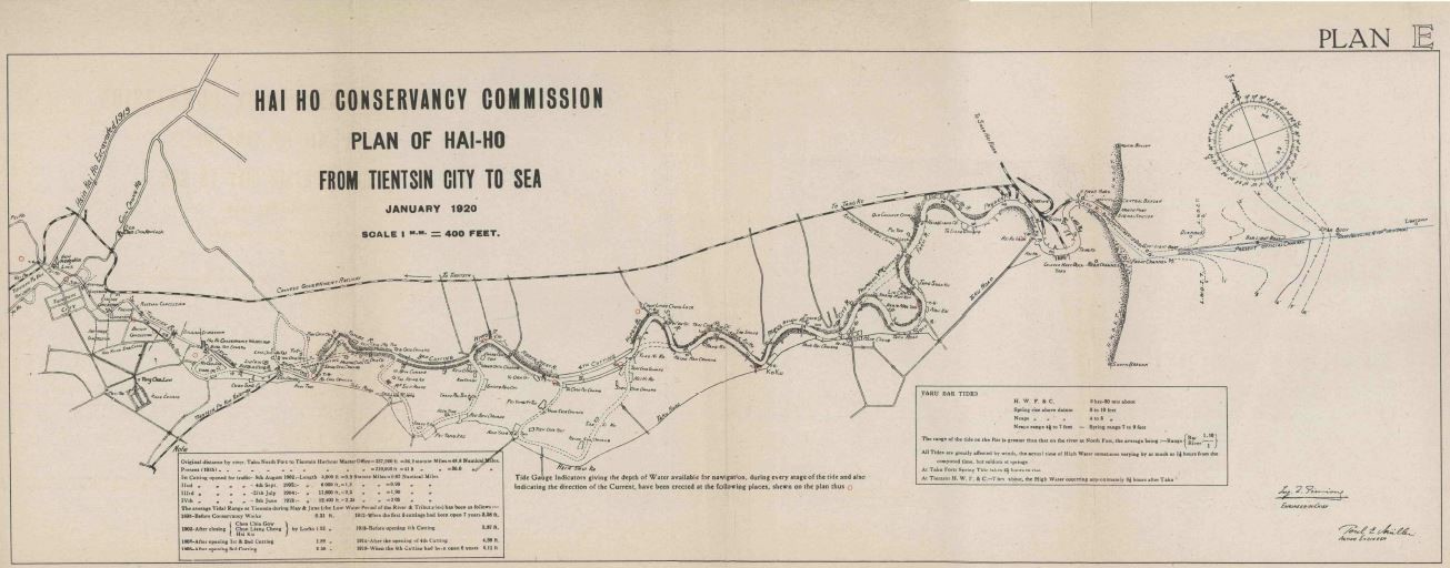 Map of the 'Hai Ho Conservancy Commission.' Map is labeled 'Plan of Hai-Ho From Tientsin City to Sea. January 1920.'