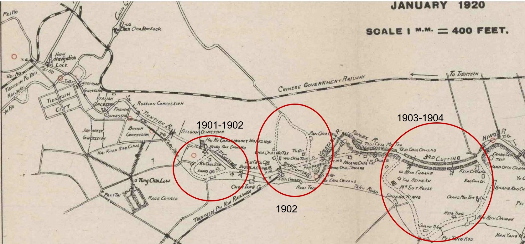 Different parts of the Hai Ho Conservancy Commission map are circled. Each circle represents a 'Cutting.' One cutting is labled 1901-1902, the next 1902, the next 1903-1904.