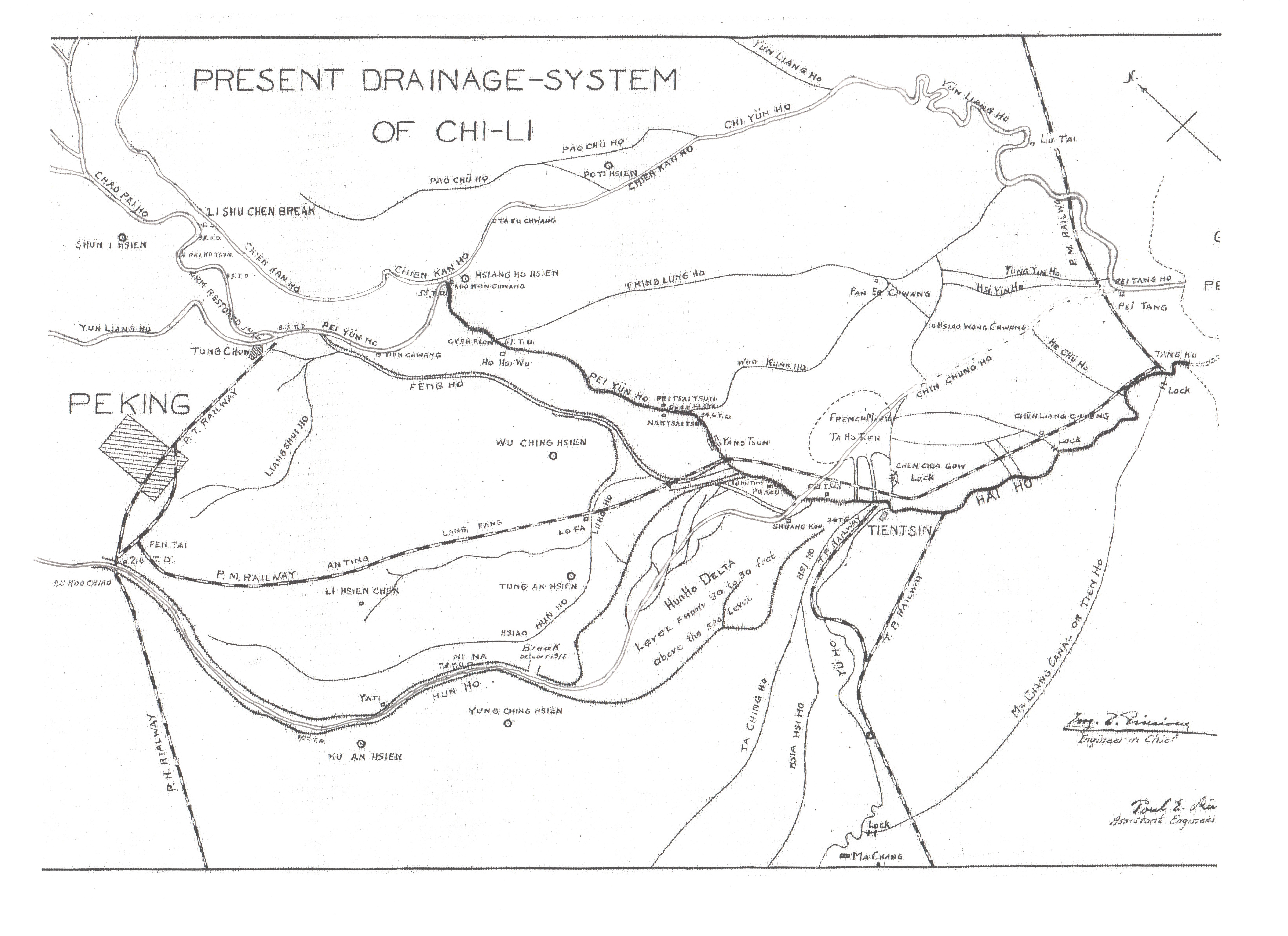 Figure 6: The short dotted line between the Jiangan River (Chien Kan Ho) and the Chaobai River (Chao Pei Ho) to the upper left of the map shows the location of the 1912 Lisuizhen break (Li Shu Chen Break) and the detour to the Chaobai River this break created.