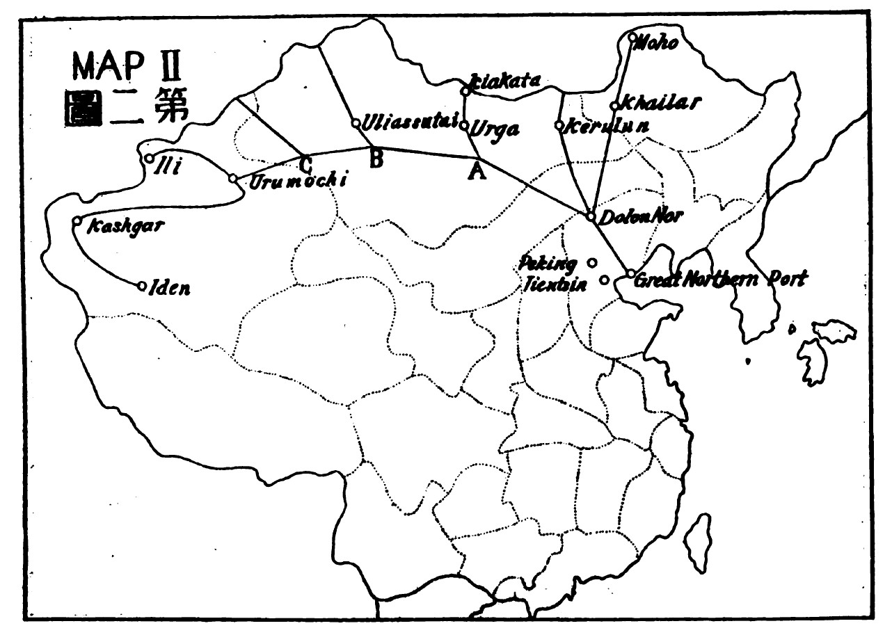 Figure 7: The location of the Great Northern Port in Sun Yat-sen's plan. A thick black line connects the Great Northern Port to many different cities throughout China, all the way to a place called 'Iden.'