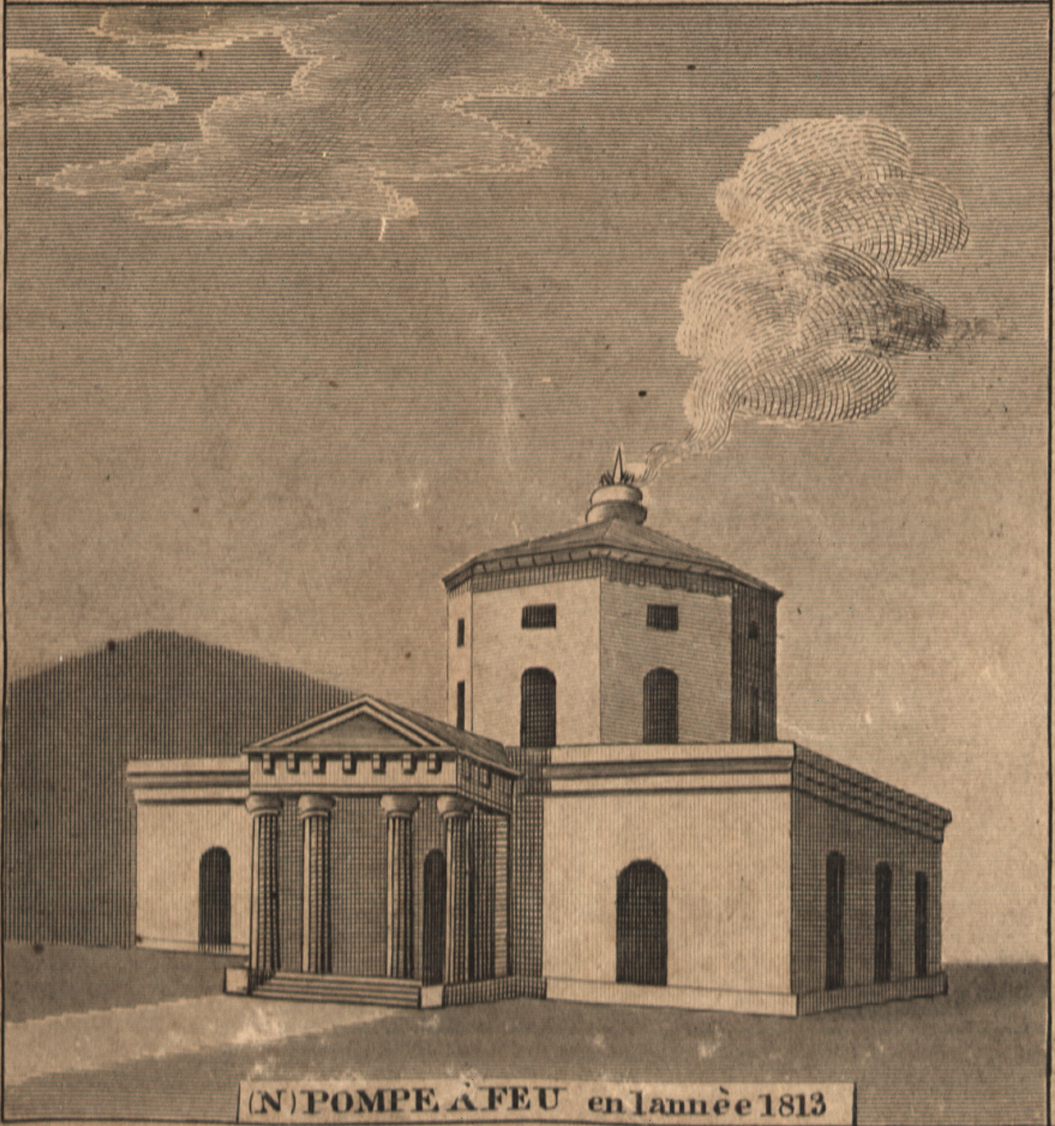 Figure 1: New Orleans Water Works design, 1812. A sketch of a neoclassical building, with smoke rising up from a chimney.