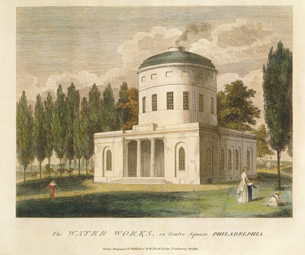 Figure 2: Philadelphia Centre Square Water Works, 1799-1801. A sophisticated drawing of a neoclassical building with smoke rising up from a chimney in the center dome.