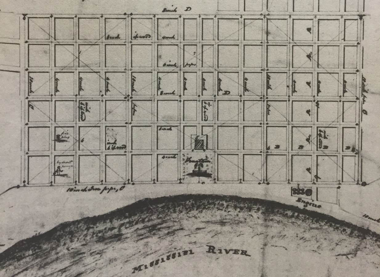 Figure 5: New Orleans grid map (1811) showing the location (but not the final design) for the waterworks engine house. Note the planned waterfront fountain, never built.