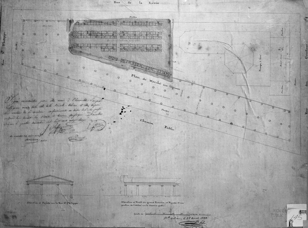 Figure 6: 1822 plan drawing for the new vegetable market, showing the final waterworks location and design plan at the corner of Ursulines and Rue de la Levee (now Dacatur).