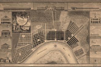 Figure 10: I. Tanesse's 1815 survey map of New Orleans. Note lower left inset image depicting Benjamin Latrobe's New Orleans waterworks, featured as one of the city's dozen most noteworthy buildings.