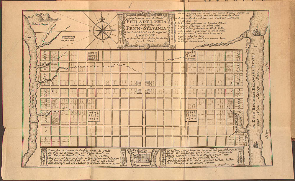 Figure 8: William Penn's Plan of Philadelphia, 1682. Benjamin Latrobe's 1801 Centre Square Water Works occupied the Centre Square, at the centerpiece of the city grid, currently the location of Philadelphia City Hall.