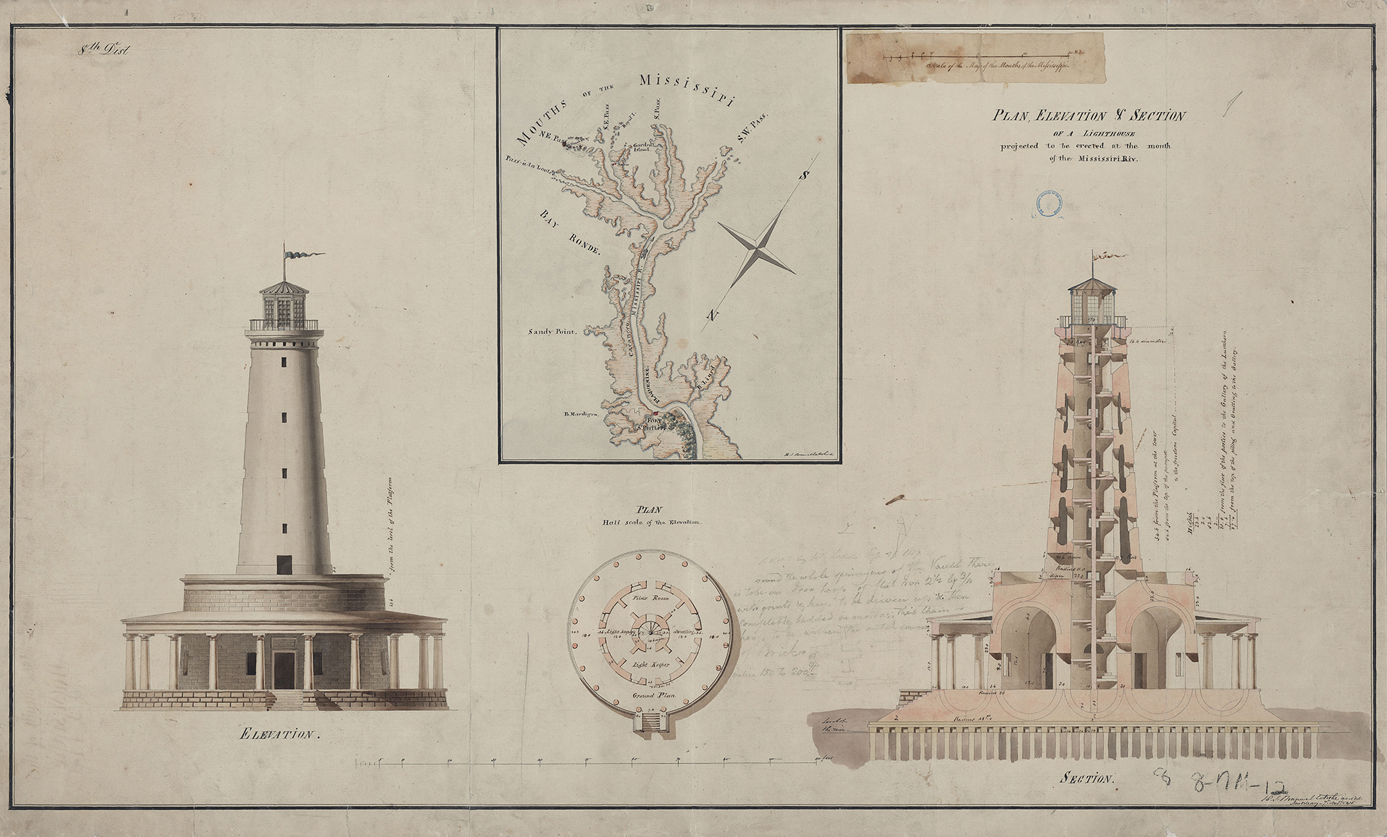 Figure 9: Frank's Island Lighthouse, New Orleans coast. Design: Benjamin Latrobe, 1816. A cross-section of the lighthouse appears along with the exterior.