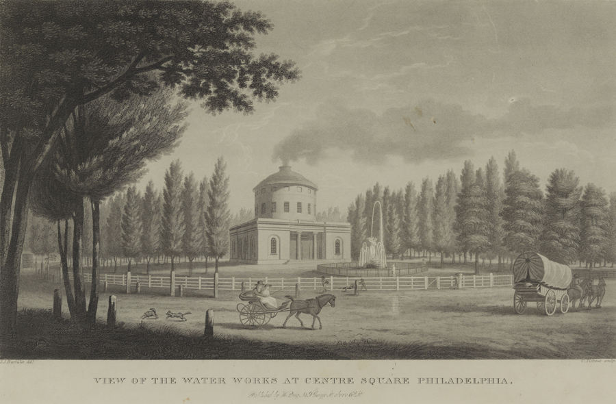 Figure 7: Period Image of Centre Square Works, ca.1810. Image courtesy of Adam Levine, Philadelphia. A horse-drawn carriage is strolling in front of a neoclassical building with smoke rising from a chimney in the center dome.