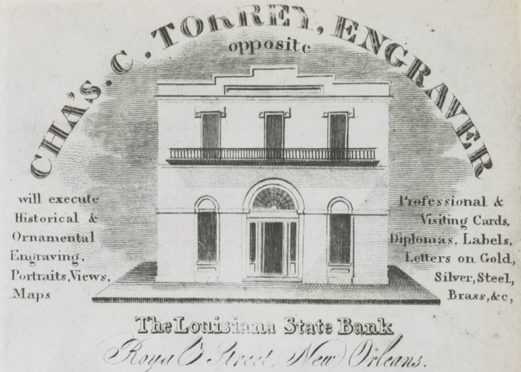 Figure 11: Benjamin Latrobe's probable Louisiana State Bank exterior design, from an 1822 engraving.