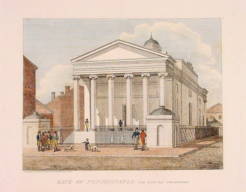 Figure 3: Bank of Pennsylvania, Philadelphia, 1798. A drawing of many men standing out in front of a neoclassical building on a sunny day.