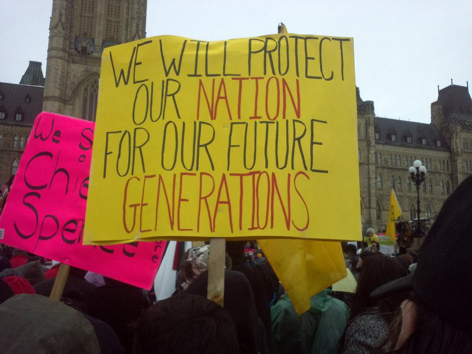 Members of Idle No More protest movement in Ottawa, Canada on January 11, 2013. Photographer Moxy. CC BY-SA 3.0