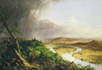 American landscape painter Thomas Cole captured in his famous painting, View from Mount Holyoke, Northampton, Massachusetts, after a Thunderstorm—The Oxbow, what social anthropologist Paul Connerton described in his book, 'The Spirit of Mourning', as 'a tranquil sublimity,' a sublimity Cole connected to a 'silent energy of nature.' Landscapes, especially those dominated by rivers, have distinct aural characteristics that scholars have both highlighted and perhaps overlooked. Image via Metropolitan Museum of Art, New York.