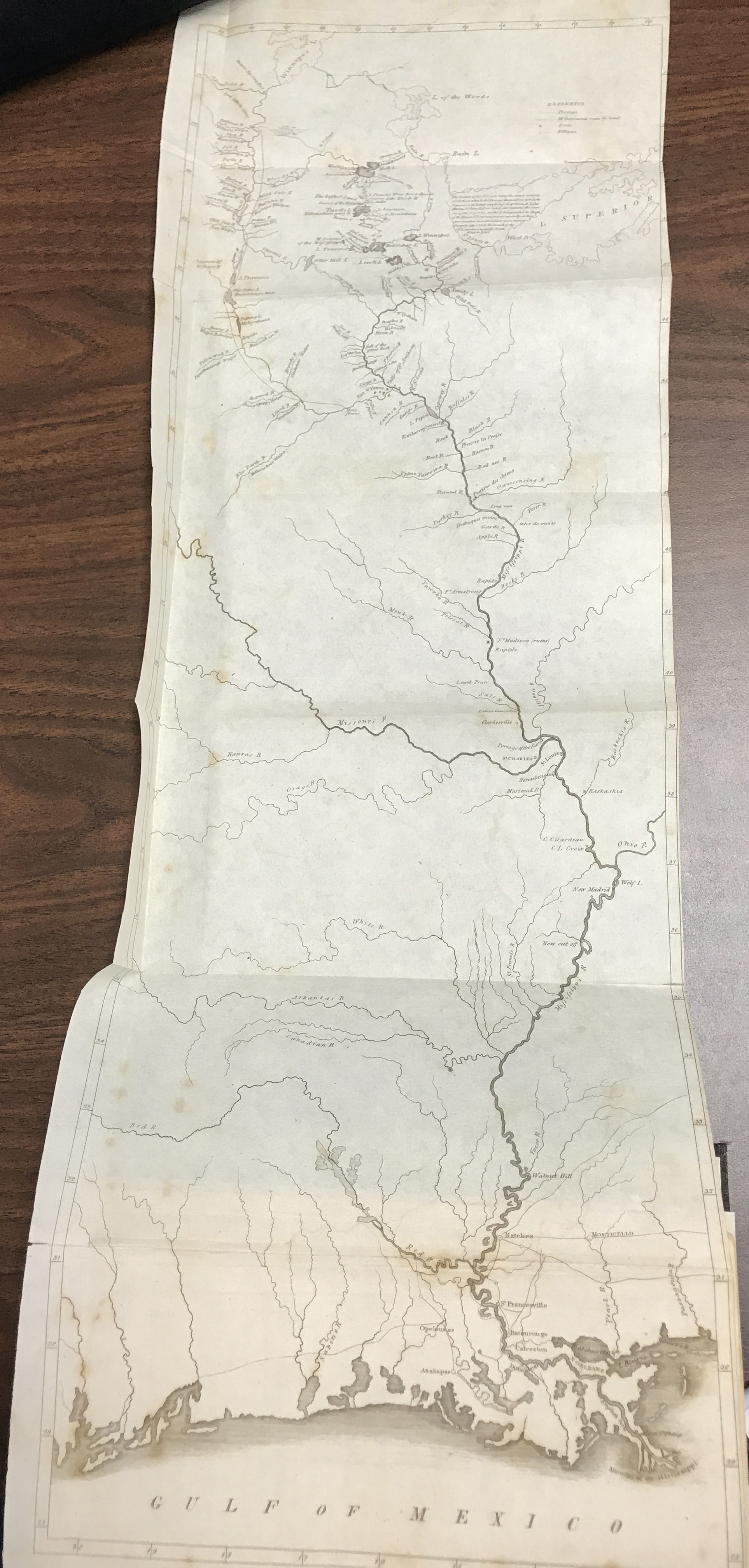 Map of the Course of the Mississippi River. Giacomo Costantino Beltrami, A pilgrimage in Europe and America: leading to the discovery of the sources of the Mississippi and the Blood River.... London, 1828. (Bell Library 1828 Be)