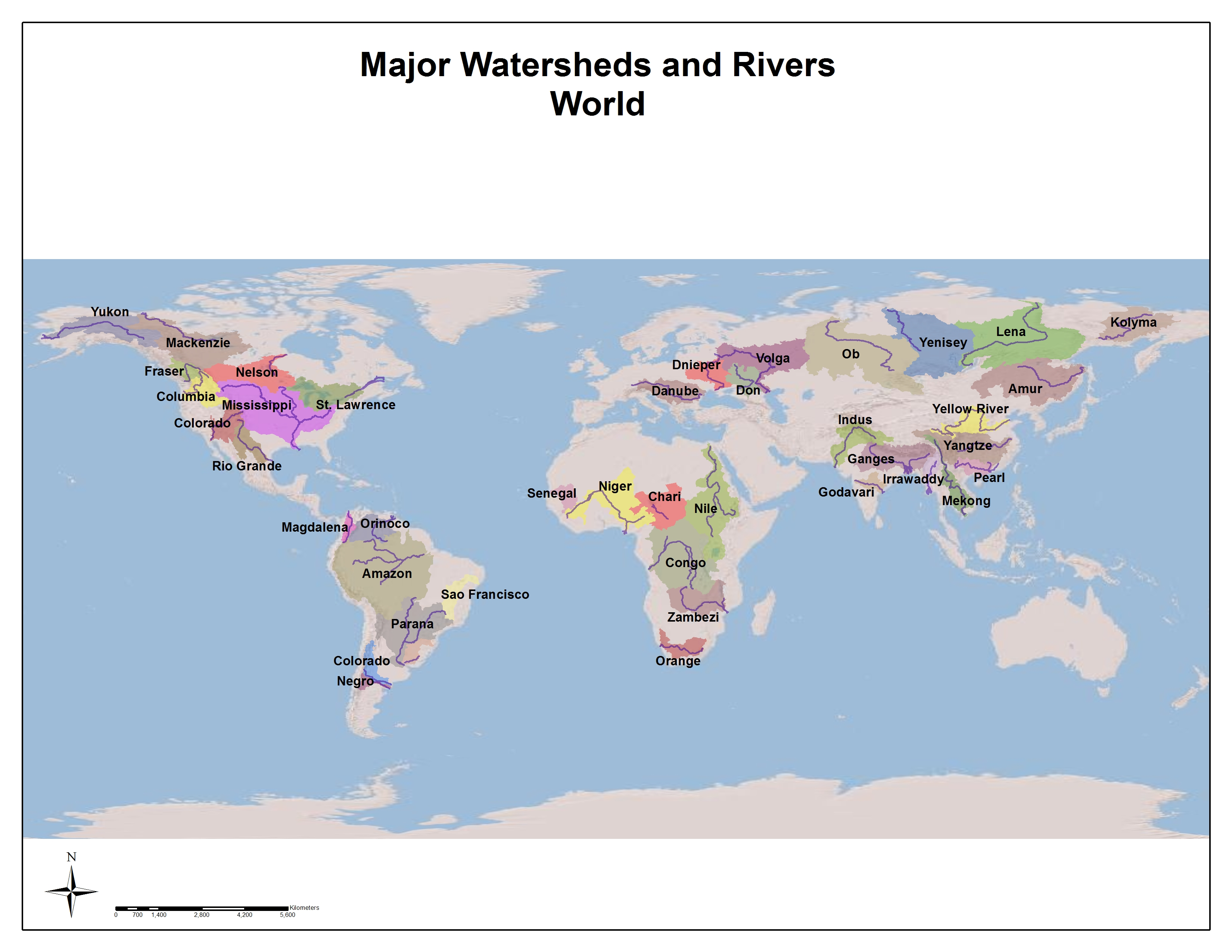 Map of the major watersheds and rivers of the world. Most of Afro-Eurasia and the Americas are covered by these watersheds, with notable exceptions over the Middle East and the Sahara Desert. Courtesy of the University of Pittsburgh Library System map collection.