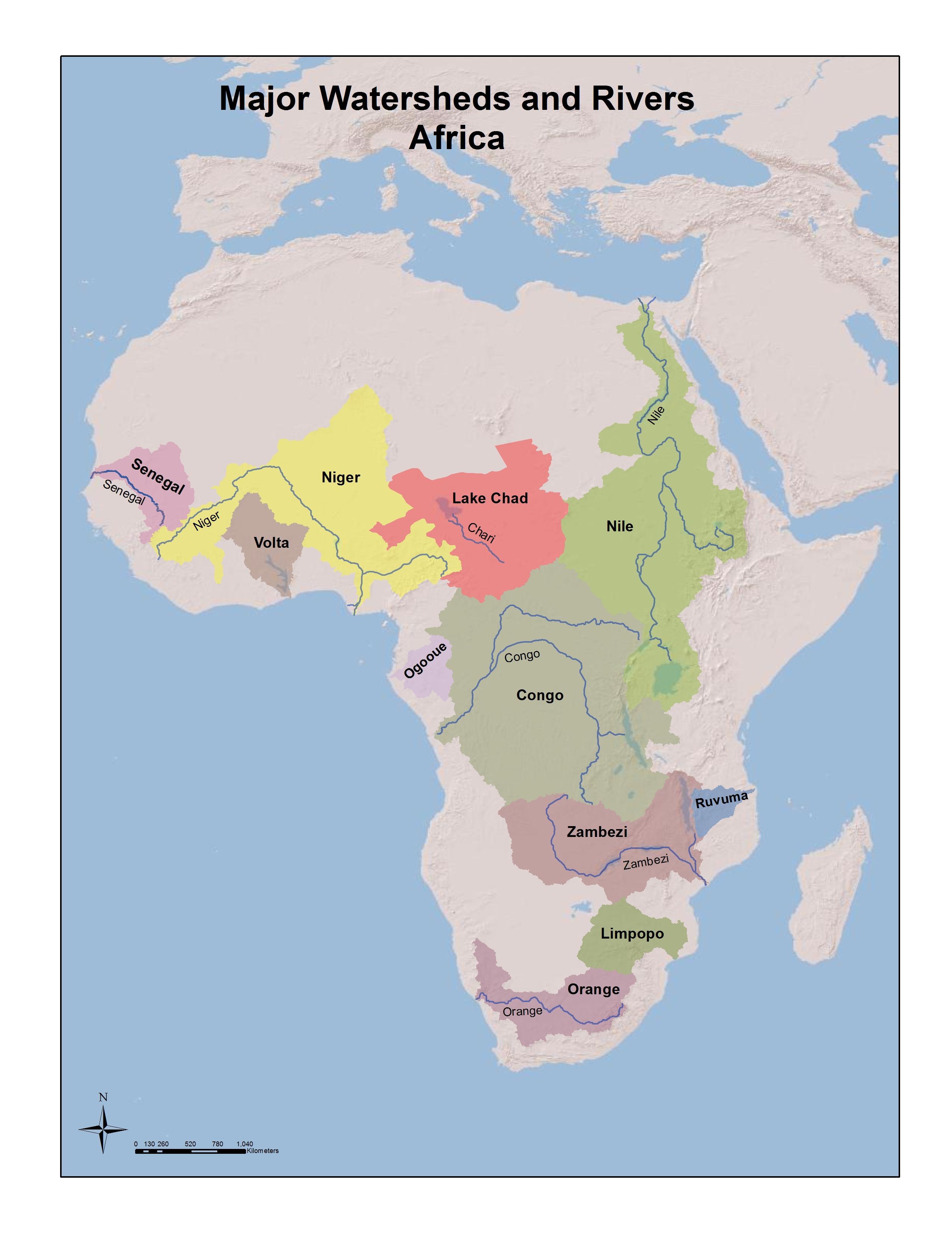 Hydrology and world history rivers and watersheds for students map of the major watersheds and rivers in africa courtesy of the university of pittsburgh library system map collection click on the image to see a larger gumiabroncs Choice Image