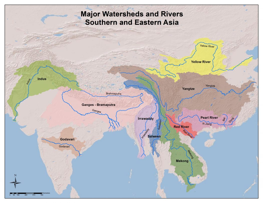 Major Watersheds and Rivers in Souther and Eastern Asia ...