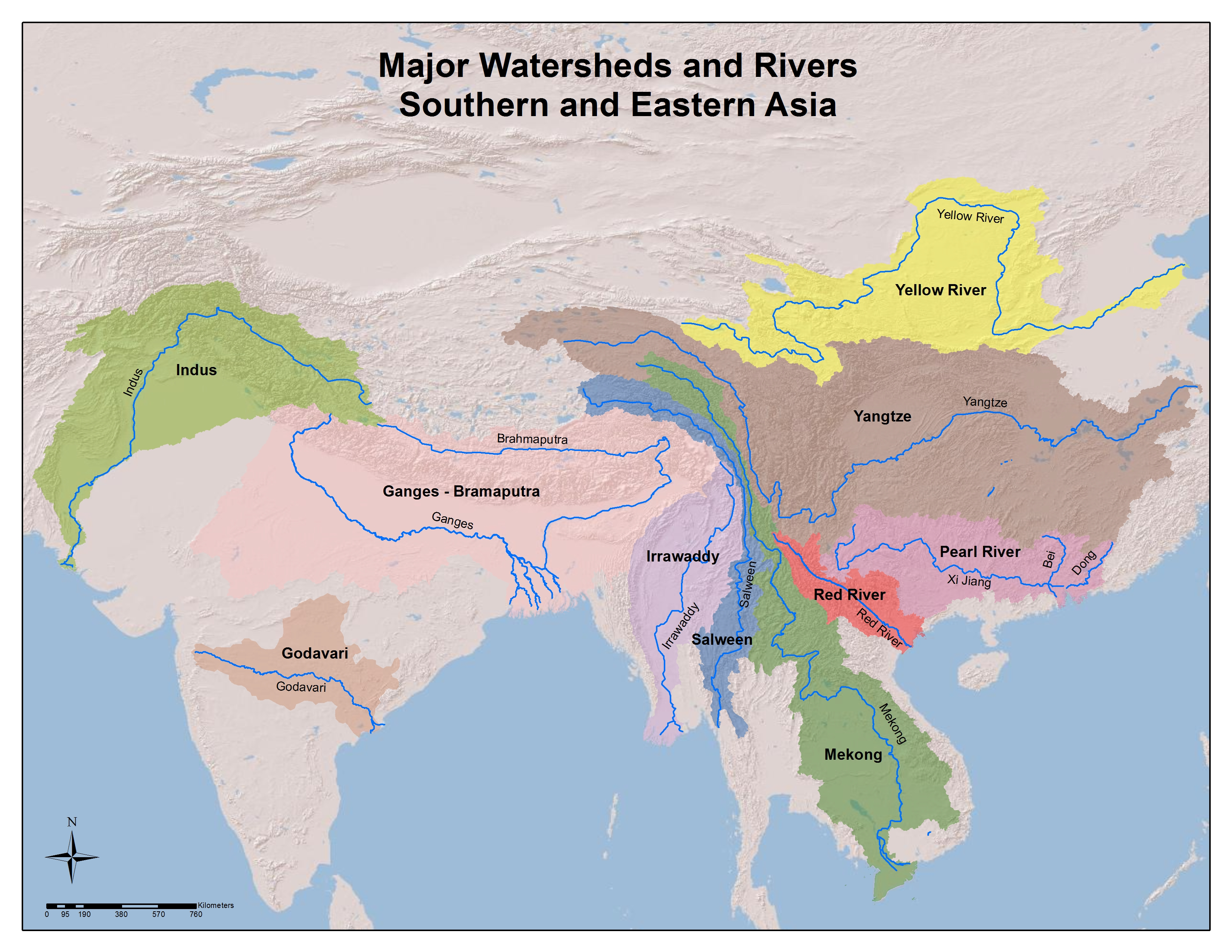 Map of the major watersheds and rivers in southern and eastern Asia. The Yangtze river watershed in China seems to be by far the largest. Courtesy of the University of Pittsburgh Library System map collection.
