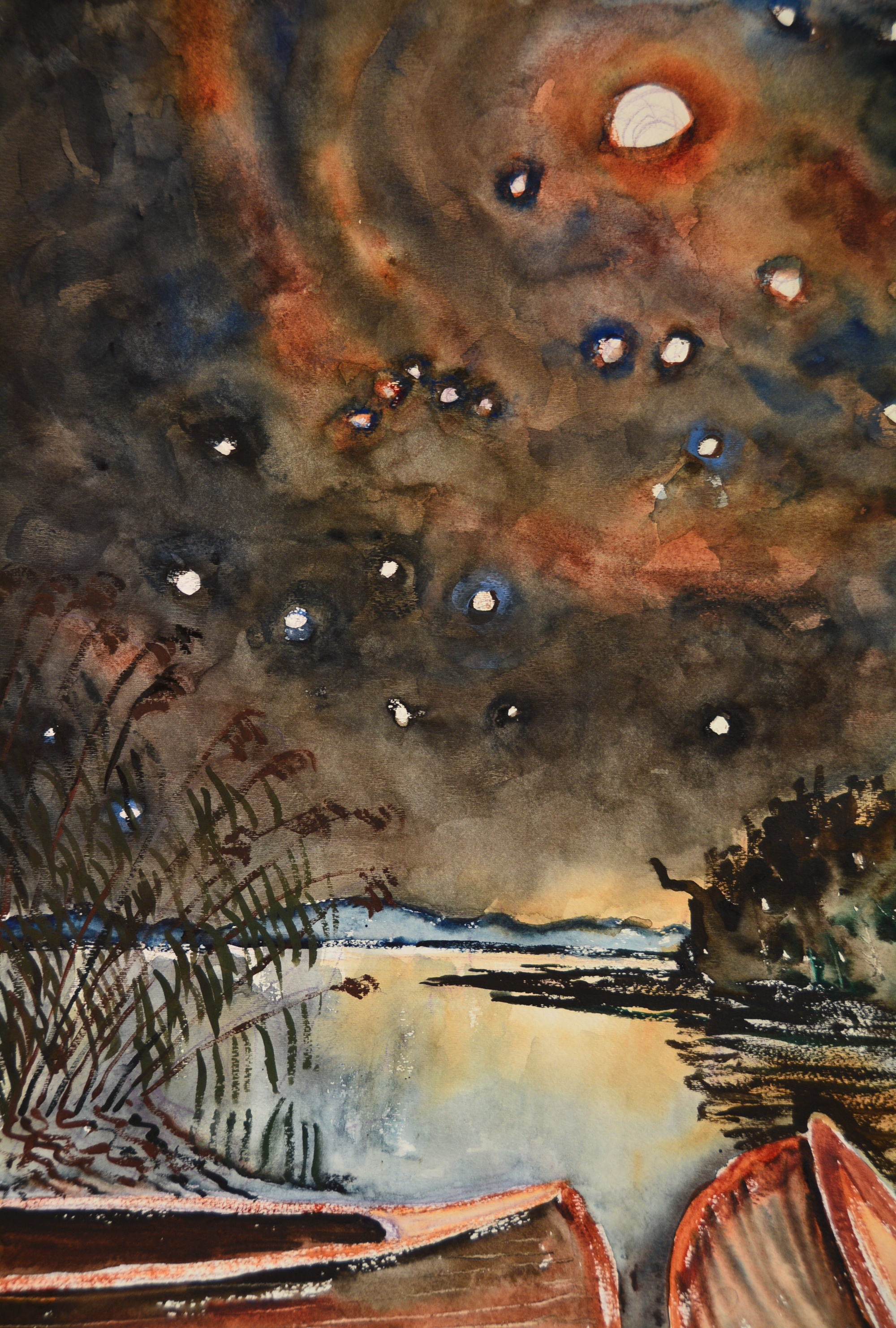 'Canis Major, Orion, Moon over South Pass' by John Ruskey, watercolor, 18×24. Image courtesy of the artist.
