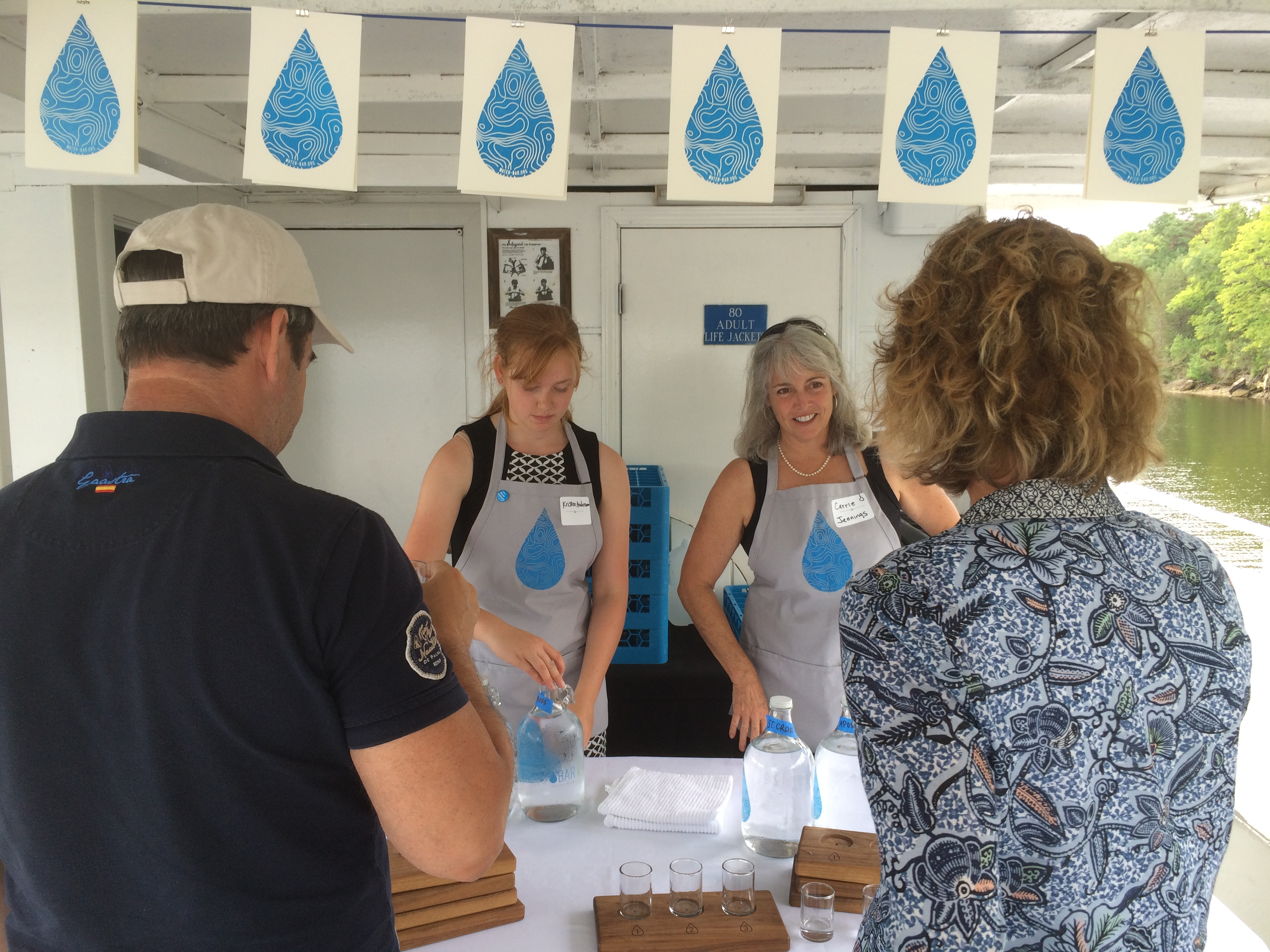 Serving water at Water Bar on the St. Croix River.