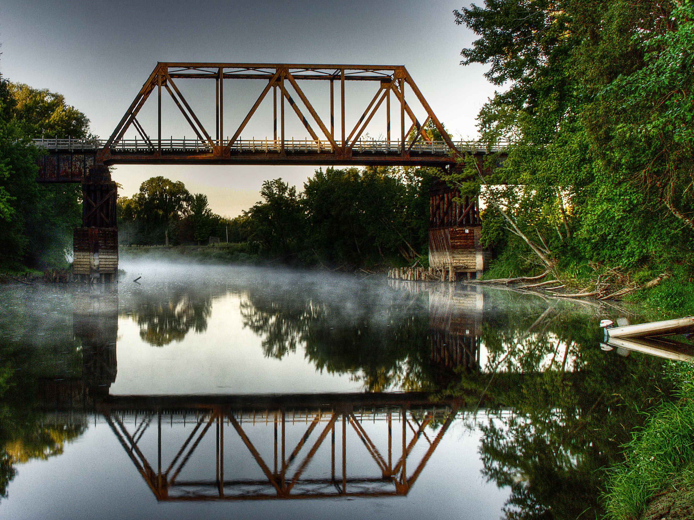 Steel truss bridge over the Mississippi River in Palisade, MN.
