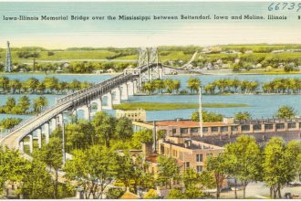 Hand-tinted postcard showing Iowa-Illinois Memorial Bridge over the Mississippi between Bettendorf, Iowa and Moline, Illinois circa 1930-45.