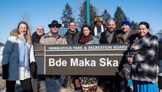 Minneapolis residents and Officials attend the press conference for Bde Maka Ska name restoration.
