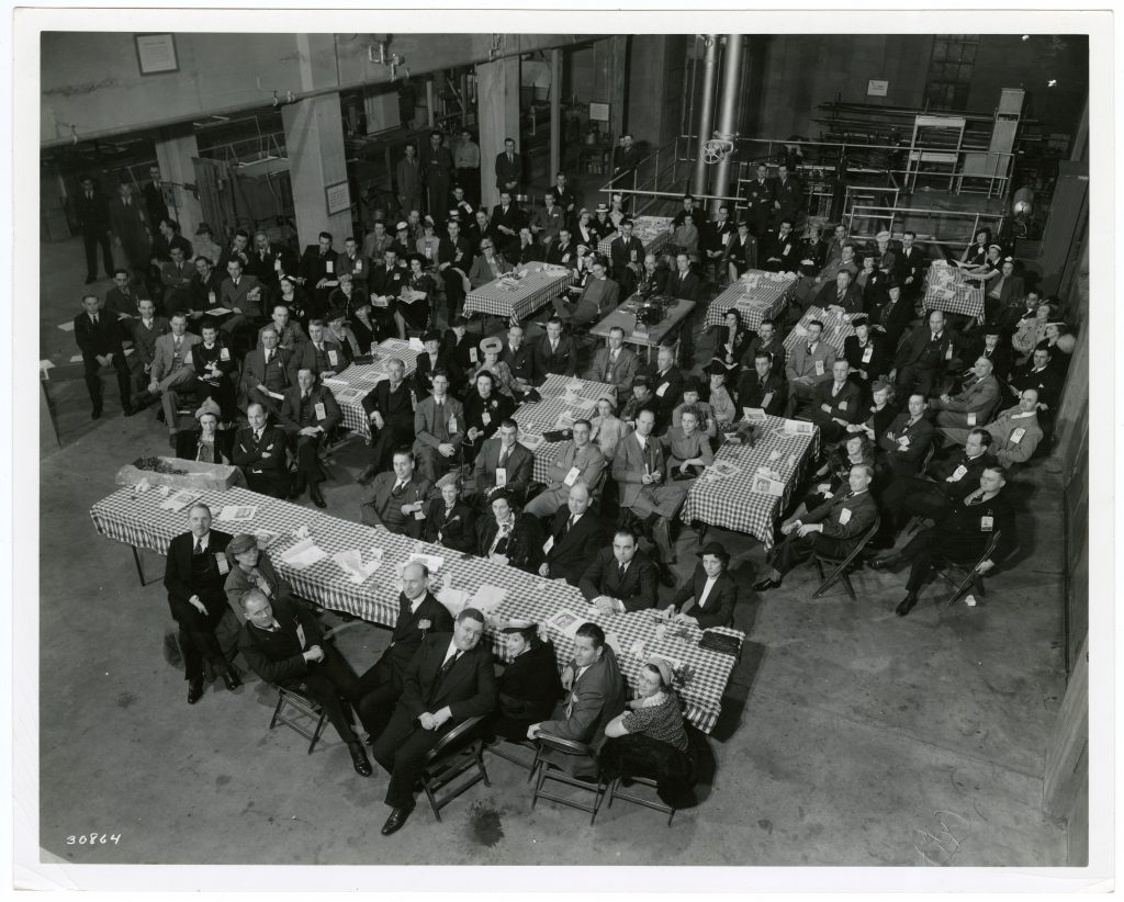 The Minneapolis Chamber of Commerce held a meeting on SAFL's shop floor in the early 1940s. This is the first floor above the basement level, and not designed to be flooded when the river rises.