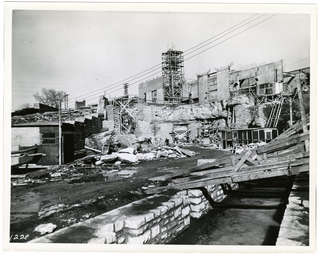 Laboratory construction in 1936 included excavation of approximately 30,000 lbs of limestone to expand the bottom floor where SAFL's outflow channel takes diverted water back to the river below St. Anthony Falls.