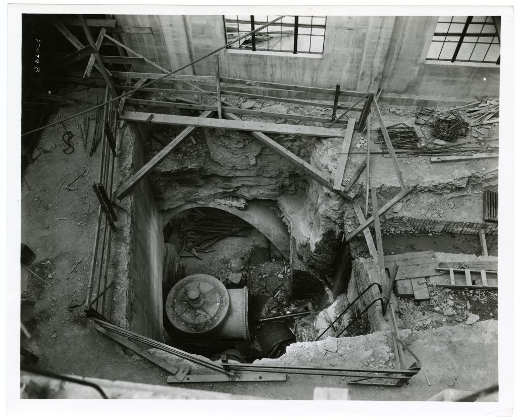 A 1936 view to the bottom of the laboratory where the turbine of the former pumping station still resided at time of construction. To this day, the basement floor of the lab is referred to as 'the turbine level.'