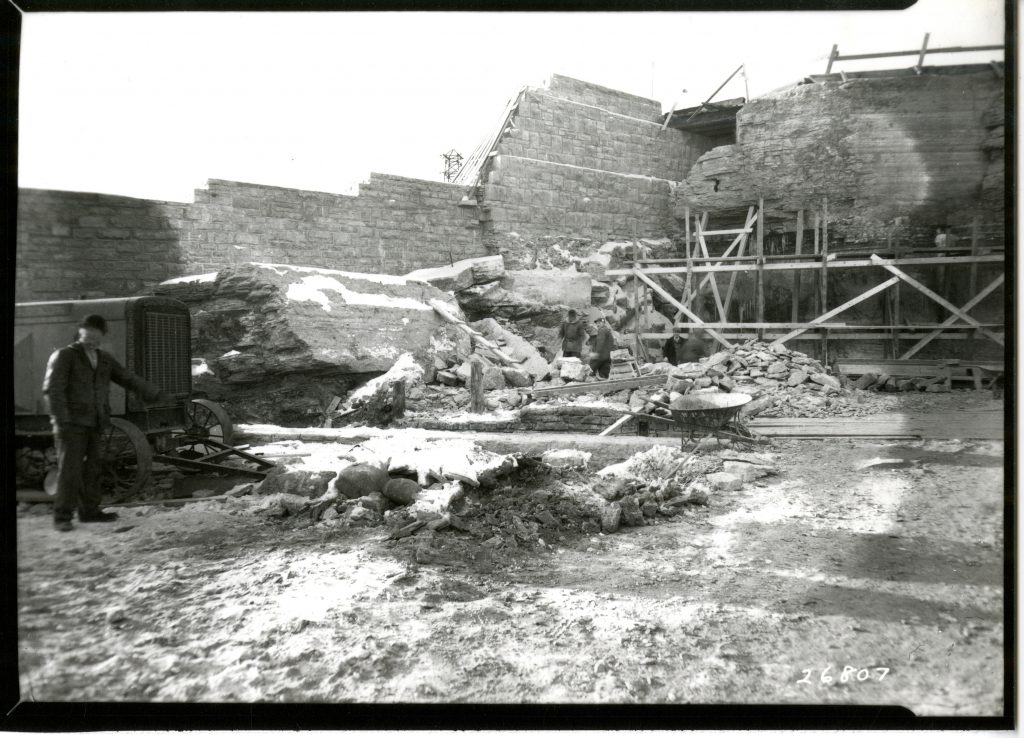SAFL's exterior walls were constructed using limestone quarried on site, 1936-37.