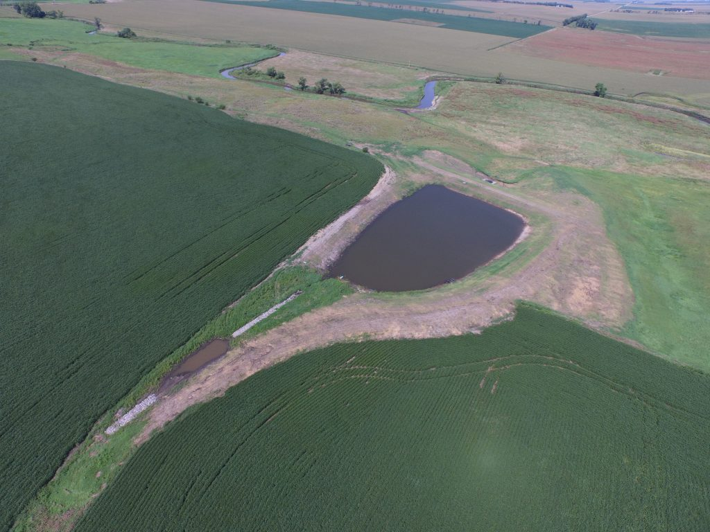 A storage pond on a western Minnesota farm collects tile runoff in the spring to be used for supplemental irrigation during summer dry spells.