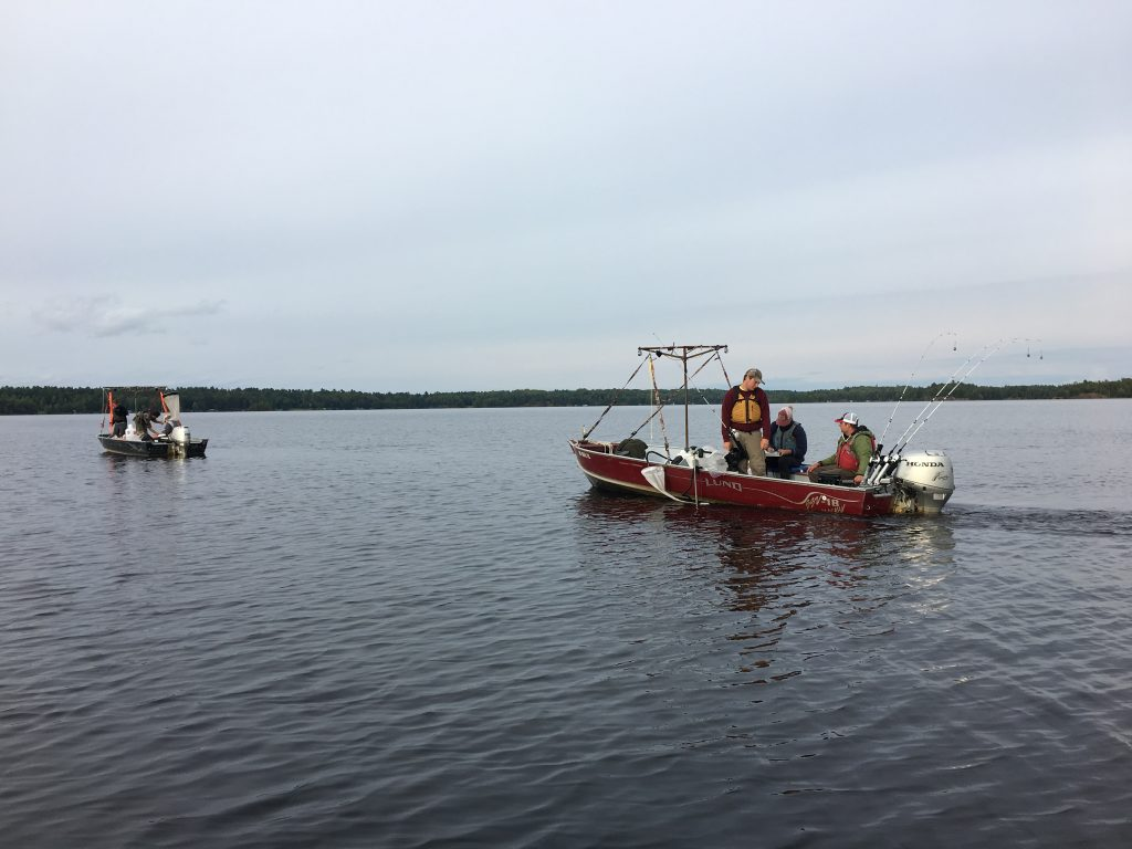 On Island Lake in northern Minnesota, one boat of NRRI researchers pulls nets searching for spiny water fleas while a second boat trolls equipment through the water to see if the invasive species attaches itself to the gear.